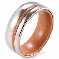 Brevedo - 8MM Wood Inner Band Titanium Ring
