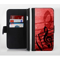 The Scratched Red Surface with Black Music Note Ink-Fuzed Leather Folding Wallet Credit-Card Case for the Apple iPhone 6/6s, 6/6s Plus, 5/5s and 5c