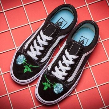 ESBONS VANS Canvas Old Skool Flower Embroidery Flats Sneakers Sport Shoes