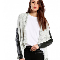 Michael Stars Multi Stitch Open Front Cardigan w/ Leather Sleeve Detail | White | SALE