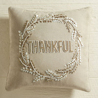 Beaded Thankful Wreath Pillow