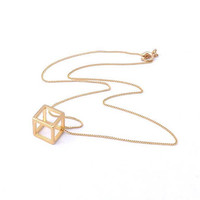 Cube  gold necklace-vintage style