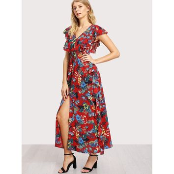 Button Up Shirred Waist Floral Dress