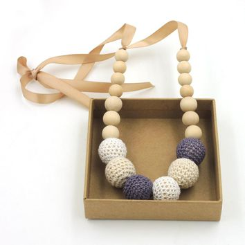1pc sale Fade Grey cream white crochet teething necklace,wood beads baby toy baby teether necklace NWr1706