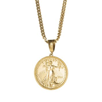 Gold Coin Inspired Pendant Necklace