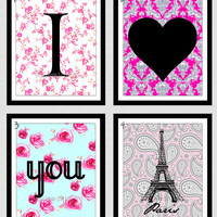 Set of 4 - 8x10 Wall Decor Print, Modern Home Decor-I Love You Paris Prints