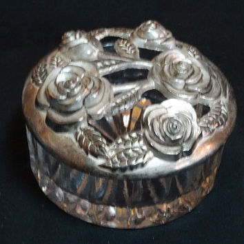 Vintage Silver Plated Dresser Jar Jewelry Box with Roses Godinger