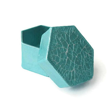 Tiny Gift Box hand painted metallic aqua and pearl white crackle lid, hexagonal box, decorative box