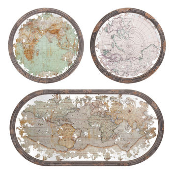 IMAX Mirrored Map Wall Décor - Set of Three | zulily
