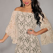 Apricot Off-The-Shoulder Lace Mini Dress with Bell Sleeves