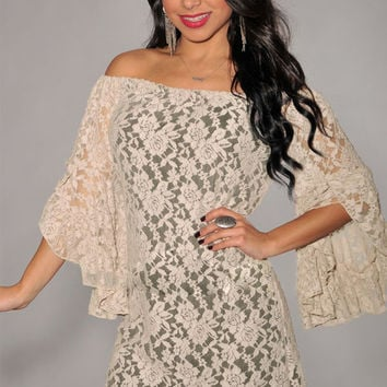 Apricot Floral Lace Off Shoulder Bell Sleeve Mini Dress
