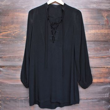 gypsy queen front-tie tunic dress in black