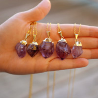 Gold Dipped Amethyst Crystal Necklace