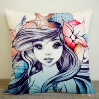 Little Mermaid Painting Pillow Case, Pillow Decoration, Pillow Cover, 16 x 16 Inch One Side, 16 x 16 Inch Two Side, 18 x 18 Inch One Side, 18 x 18 Inch Two Side, 20 x 20 Inch One Side, 20 x 20 Inch Two Side