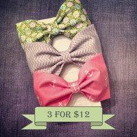 Preppy nautical anchor fabric hair bows coral green khaki chevron