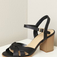 Criss Cross Strappy Wooden Heel Black
