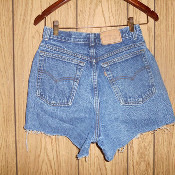 Vintage Clothing Online Womens Vintage Clothing  Levis Strauss   Jeans USA zip Fly cutoffs cut off festival Denim Jean Shorts   W