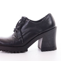 90s Chunky Black Vegan Leather Platform Oxford Shoes Grunge Goth Womens Size US 7 UK 5 EUR 37-38