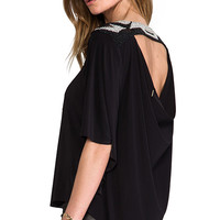 T-Bags Los Angeles Back Cut Out Blouse in Black
