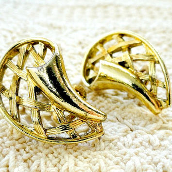 Vintage Gold Earrings, Clip Ons, Costume Jewelry