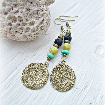 Boho Gypsy Earrings - Boho Coin Earrings - Coin Earrings - Gypsy Coin Earrings - Tribal Earrings - Hippie Earrings - Yoga Earrings