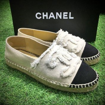 Best Online Sale Fashion Chanel Logo Canvas White Grey Espadrilles Flats Stitched Slip