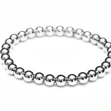 14k White Gold Bead Stretch Bracelet - Women's and Men's Bracelet - 6mm