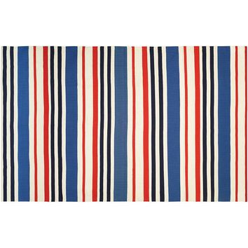 Couristan Grand Cayman Callabash Striped Indoor Outdoor Rug (Ivory Navy Red)