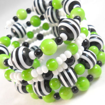 Bracelet Stack Tween Jewelry Wrap Bracelet Lime Green and Black and White Fun Jewelry