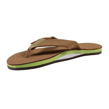 Women's Single Layer Premier Leather Sandal in Sierra Brown with Lime Arch by Rainbow