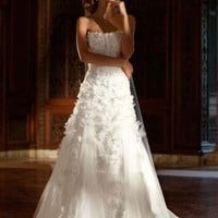 Tulle Gown with Lace Applique and 3D Flowers - David's Bridal - mobile