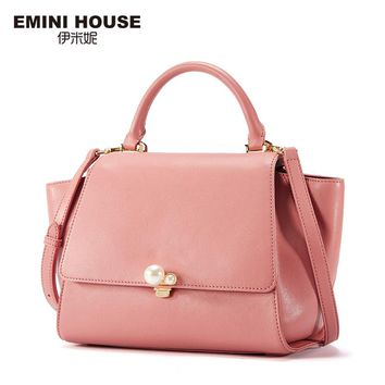 EMINI HOUSE Pearl Top-Handle Bag Split Leather Luxury Handbags Women Bags Designer Shoulder Bag Crossbody Bags For Women