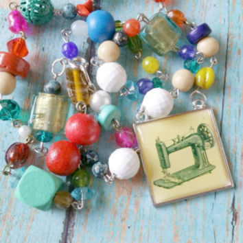 Sewing Necklace, Sewing Machine Necklace, Sewing Assemblage, Assemblage Necklace, Mixed Media Necklace, Colorful Bead Rosary, Sewing Gifts