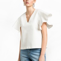 White Ruffled Sleeve Top