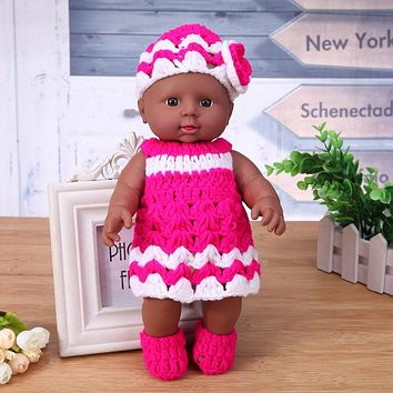 Reborn Baby Doll Toy African Model Kindergarten Dolls with Knit Dress Vinyl Simulation Baby Doll Girl Birthday Gift