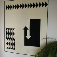 Black and White Modern Quilt, Art Quilt, Arrow Quilt