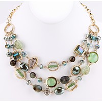 Floating Beaded and Stones Necklace - Green