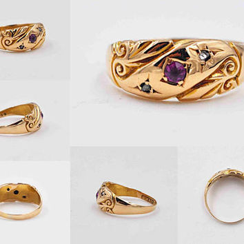 Antique Art Nouveau 18K Gold, Ruby & White Sapphire Ring, 3 Stone, Birmingham, Circa 1900, Wedding, Size 5 1/2, Stunning! #b987