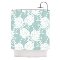 "Gill Eggleston ""Protea Jade White"" Blue Flowers Shower Curtain"