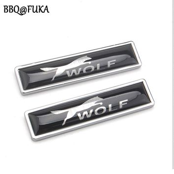 1 Pair Wolf Car Emblem Fender Bumper Decorative Badge Decal Sticker Metal Fit For Ford Mustang Auto Car Styling Accessories