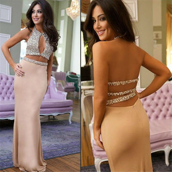 Two piece Prom Dresses Beading Sexy Halter Neck Backless Crop Top Mermaid Women Party Gowns Robe De Soiree Longue
