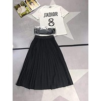 """Dior"" Woman Leisure Fashion Letter Personality Printing Spell Color Crew Neck Short Sleeve Tops   Pleated Skirt Belt Three-Piece Set Casual Wear Sportswear"
