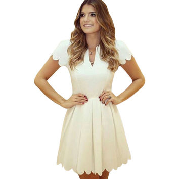 White Sweet Scallop Dress Sale LAVELIQ