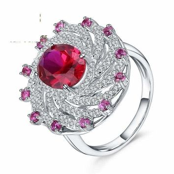 Ruby Vintage Cocktail Ring 925 Sterling Silver Ring