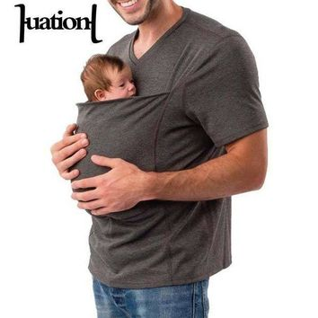 ESBLD1 Huation 2018 Summer Baby Carrier Sling Kangaroo T-Shirt Men Multifunction Short Sleeve t-shirt for Dad Baby Crossfit Tee Shirt