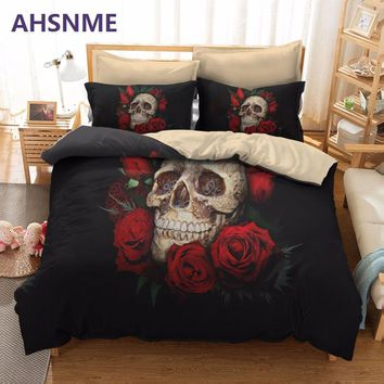 AHSNME Super Rose Skull Nightmare Sleep Bedding Set Quilt Multi-country or Custom size Custom Cover Set AU / US / EU king Queen