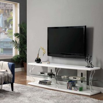"""72"""" Wooden TV Stand With Spacious Glass Shelf, White By Casagear Home"""
