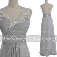 Silver Prom Dresses, Chiffom Prom Gown, 2014 Straps Lace /Chiffon Long Prom Dresses, Silver Evening Dresses, Chiffon Formal Gown