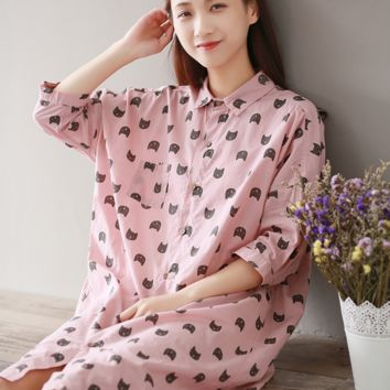 CAT HEAD PRINTS PINK COTTON SHIRT SHIRT DRESS SHIRT DRESS TIDE