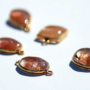 Natural Copper Rutile Quartz Cabochon Connectors